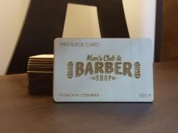 Деревянная визитка для Barber Shop